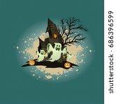 happy halloween design elements.... | Shutterstock .eps vector #686396599