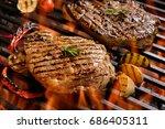 grilled pork steak with...   Shutterstock . vector #686405311