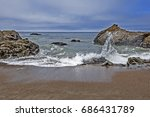 approaching storm  waves...   Shutterstock . vector #686431789