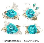 set of turquoise roses  with... | Shutterstock .eps vector #686448547