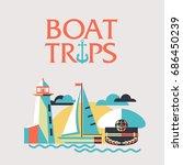 boat trips. vector illustration ... | Shutterstock .eps vector #686450239