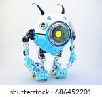 white blue robot beetle with... | Shutterstock . vector #686452201