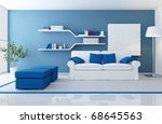 white couch in a blue modern... | Shutterstock . vector #68645563