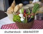 fresh  vegetables and bread  | Shutterstock . vector #686460559