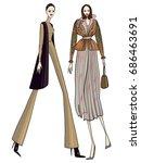 fashion girls  models  posing | Shutterstock .eps vector #686463691