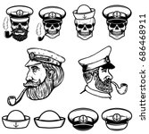 sea captain illustrations.... | Shutterstock .eps vector #686468911