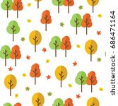 autumn forest with leaves... | Shutterstock .eps vector #686471164