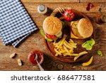 homemade  beef hamburger with... | Shutterstock . vector #686477581