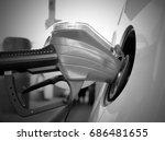 closeup photo of petrol pump... | Shutterstock . vector #686481655