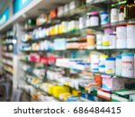 medicines arranged on shelves... | Shutterstock . vector #686484415