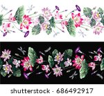 embroidered seamless floral... | Shutterstock .eps vector #686492917