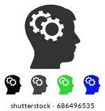 intellect gears flat vector... | Shutterstock .eps vector #686496535