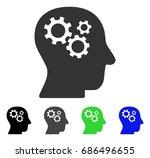 intellect gears flat vector... | Shutterstock .eps vector #686496655