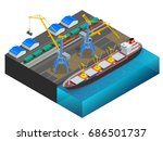 isometric cargo containers... | Shutterstock .eps vector #686501737