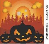 pumpkins halloween vector art   Shutterstock .eps vector #686505739