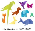 animals origami set japanese... | Shutterstock .eps vector #686512039