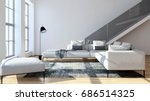 modern bright living room ... | Shutterstock . vector #686514325