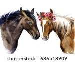 Watercolor Horses With Flowers...