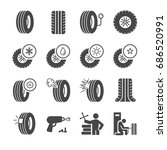 tire  tyre and wheel icons set | Shutterstock .eps vector #686520991