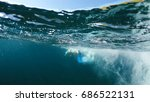 swimmer in flippers dives into ... | Shutterstock . vector #686522131