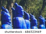 blue terracotta warriors... | Shutterstock . vector #686523469