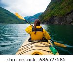 flam  norway   july 9  2016  a... | Shutterstock . vector #686527585