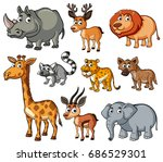 different kinds of wild animals ... | Shutterstock .eps vector #686529301
