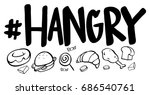 word expression for hangry with ... | Shutterstock .eps vector #686540761