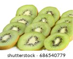 kiwi slices isolated on white... | Shutterstock . vector #686540779