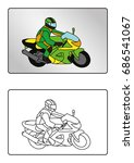 coloring page book   motorbike | Shutterstock .eps vector #686541067