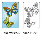 coloring page book   butterfly | Shutterstock .eps vector #686541091