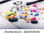 pharmacy background on a white... | Shutterstock . vector #686544634