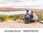 couple looking at panorama from ... | Shutterstock . vector #686546341