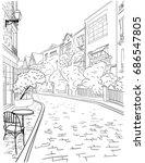 a walk through the city center... | Shutterstock .eps vector #686547805