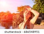 young woman with heatstroke.... | Shutterstock . vector #686548951