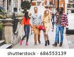 multiracial group of friends...   Shutterstock . vector #686553139
