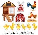 chickens and cicken coops... | Shutterstock .eps vector #686557285