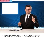 television reporter telling... | Shutterstock . vector #686560519