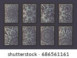 card set with mosaic lace... | Shutterstock .eps vector #686561161