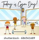 people work out in gym... | Shutterstock .eps vector #686561689