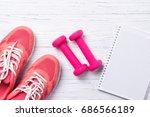 fitness concept  pink sneakers... | Shutterstock . vector #686566189