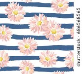 pink daisies on the striped... | Shutterstock .eps vector #686568565