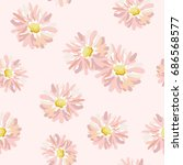 pink daisies on the blush... | Shutterstock .eps vector #686568577