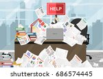 businessman needs help under a... | Shutterstock .eps vector #686574445