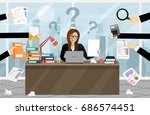 person at work multitasking ... | Shutterstock .eps vector #686574451