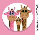 cute giraffes family cartoon... | Shutterstock .eps vector #686575471