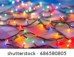 colored lights christmas... | Shutterstock . vector #686580805