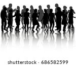 silhouette people dancing ... | Shutterstock .eps vector #686582599