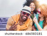 multi racial friends having fun ... | Shutterstock . vector #686583181