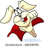 super bunny flies in the red... | Shutterstock .eps vector #68658496